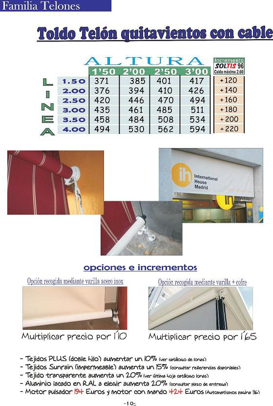 TOLDO TELON QUITAVIENTOS CON CABLE